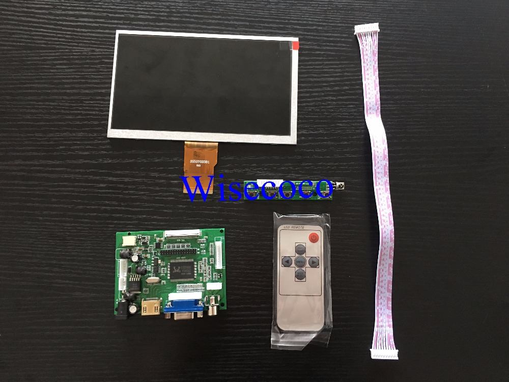 52Pi 7 inch TFT LCD 1024*600 Display Monitor Screen with Drive Board ( HDMI + VGA + 2AV ) for Raspberry Pi / PC Windows