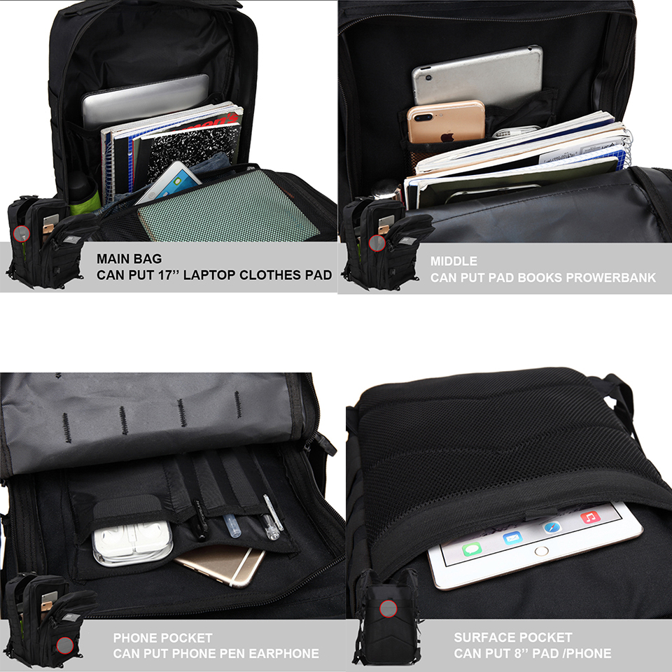 Image 5 - Outdoor Backpacks Tactical Backpack Military Rucksack Bag Mens Women 43L Army Bagpack Sports 3P Flag Waterproof Molle Bags Packs-in Backpacks from Luggage & Bags
