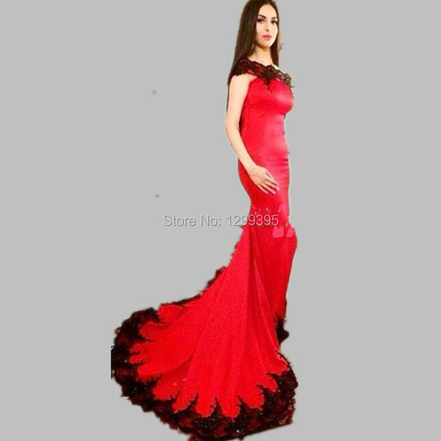 Mermaid Long Red Evening Dress Prom Dress with Black Lace Appliques Boat  Neck Vestidos Largos para Bodas 290fb2fd5361