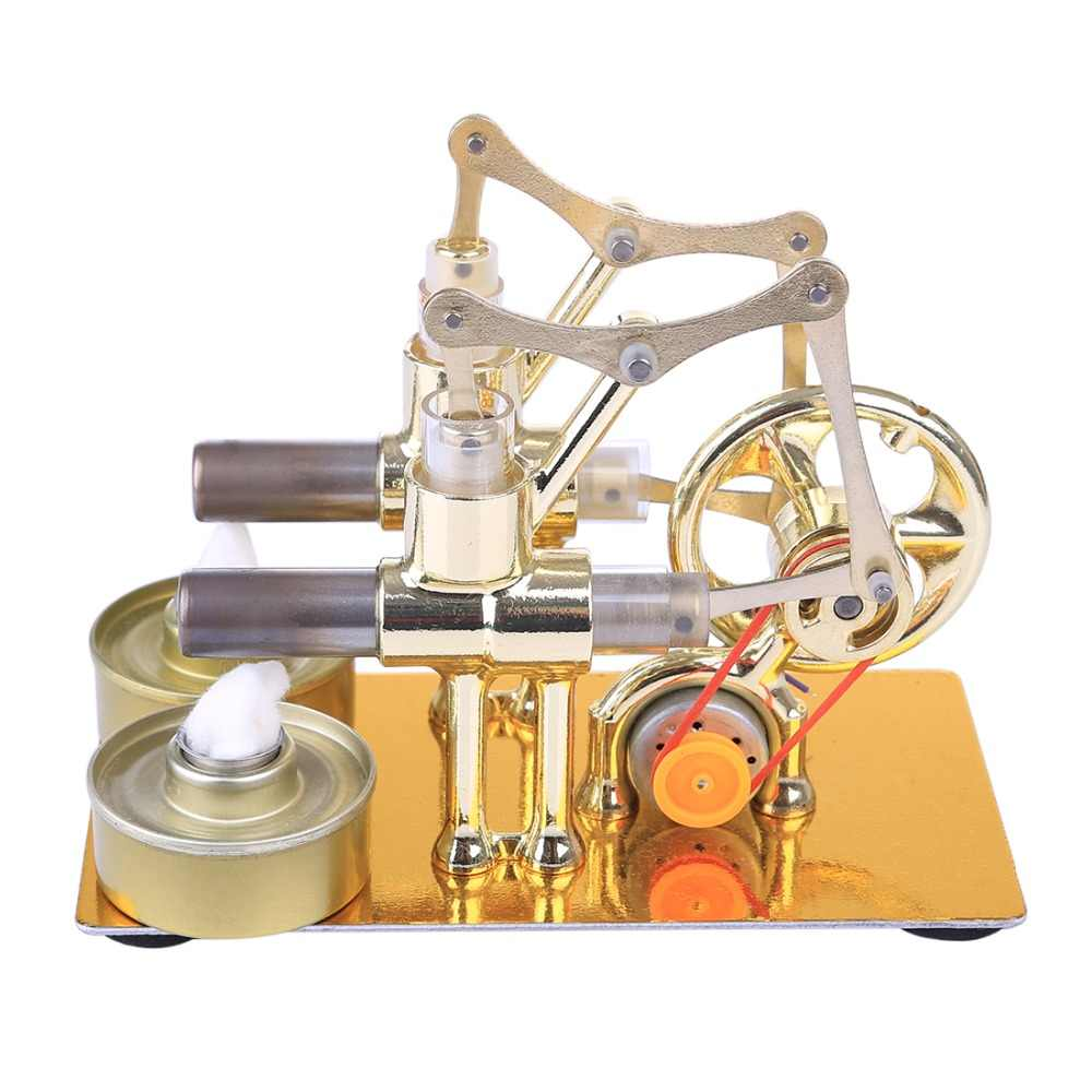 Gamma Close In Boiler Gamma Stirling Engine Metal Double Cylinder Bulb External Combustion Heat Power Engine Model Physics Science Experiment Toy