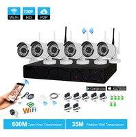 التوصيل والتشغيل 6ch 1080 وعاء hd nvr p2p اللاسلكية 720 وعاء داخلي 1.0mp كاميرا ip wifi cctv ir للرؤية الليلية الأمن نظام
