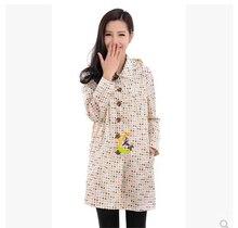 New 2018 waterproof raincoat women long black brown beige polka dotsRain Poncho Coat Female Chubasqueros Impermeables Mujer