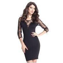 Women Elegant Lace Crochet Long Sleeve Patchwork Casual V Neck Work Office Knee Length Bodycon Pencil Dress