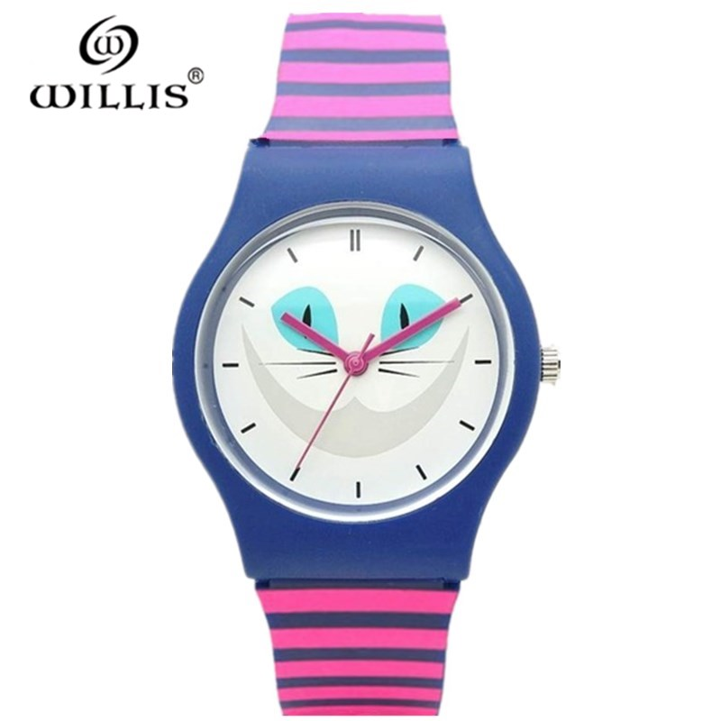 Vrouwen Cartoon Casual Waterdichte Horloges WILLIS Mode Quartz Merk Sport Leisure Katten patronen Siliconen Polshorloge