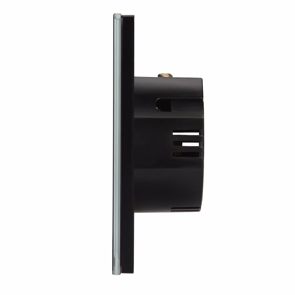 TUCLIX EU Standard 2 Gang 1 Way Remote Control Touch Switch Remote Wall Light Switch With Cystal Glass Panel lace