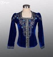 Free Shipping Royal Blue Velvet Ballet Tops For Men Men Dance Costumes Men Ballet Stage CostumesBM0004