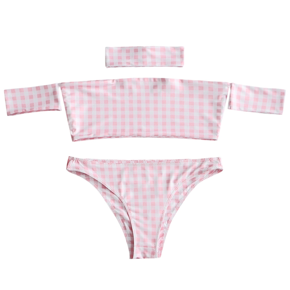2018 Summer Plaid Off Shoulder <font><b>Bikini</b></font> Women's Beach <font><b>Brazilian</b></font> <font><b>Bikinis</b></font> Set Secret <font><b>Sex</b></font> Bath Top New Swimwear Female Swimsuit image
