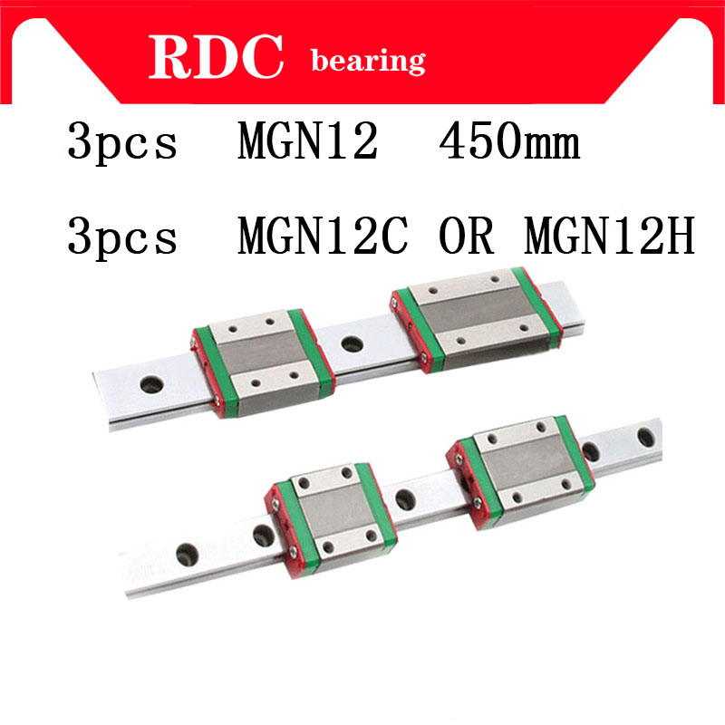 High quality 3pcs 12mm Linear Guide MGN12 L= 450mm linear rail way + MGN12C or MGN12H Long linear carriage for CNC XYZ Axis