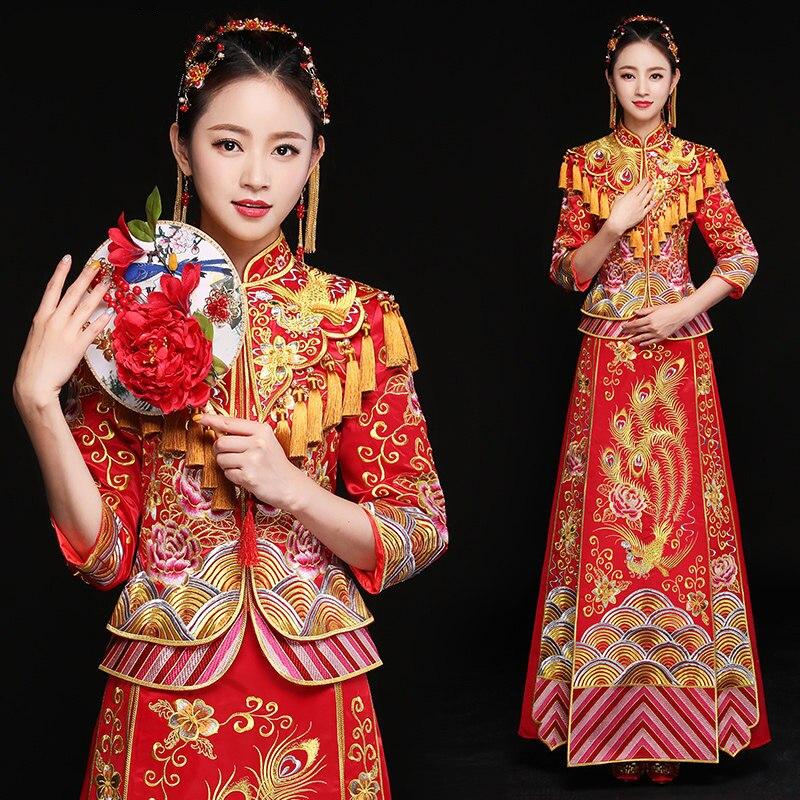 Восточный Азиатский невесты Красота китайская традиционная свадебное платье Для женщин Красный цветочные длинным рукавом вышивка Cheongsam ха