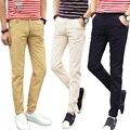 Hombres 2016 de primavera y otoño versión Coreana de moda color sólido de la alta calidad de los hombres ocasionales Adelgazan los pantalones Rectos 28-38
