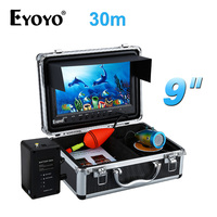 EYOYO 30M 1000TVL HD Underwater Fishing Camera Fish Finder 9 Large Monitor White LED Adjustable With