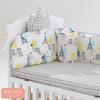 5 piezas Protector de cama de bebé, Sábana de algodón, parachoques para cuna, juego de cama para niños, cuna para recién nacidos decoración de la habitación