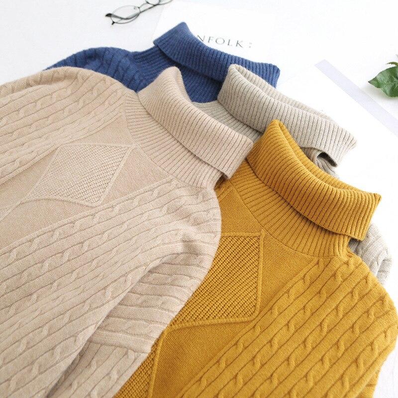 Beige Haut Automne Chandail Longues Manches yellow Casual Plus Col Beige Coréenne khaki Femmes Coton Solide À Roulé Taille Pour Hiver La Pulls Vêtements blue UxRFS