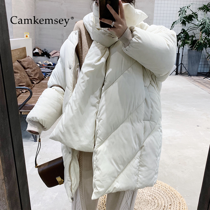 CamKemsey Winter Coats Women 2019 Autumn Korean Chic Fashion Bib Collar Thick Warm Down Cotton Padded   Parkas   Coats Female