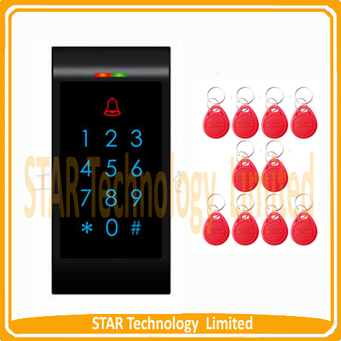 ФОТО Wholesale RFID Proximity Entry Door Lock Access Control System With 10 keys red RFID Keyfobs