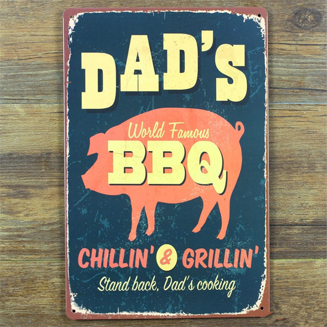 Metal Signs For Home Decor Dadu0027s BBQ Metal Sign Home Decor Vintage Tin Sign  Bar Pub