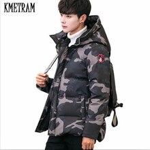 KMETRAM зимние куртки мужские s теплые камуфляжные куртки мужские стеганые пальто с капюшоном Повседневная пуховая хлопковая парка плюс размер 5XL HH493
