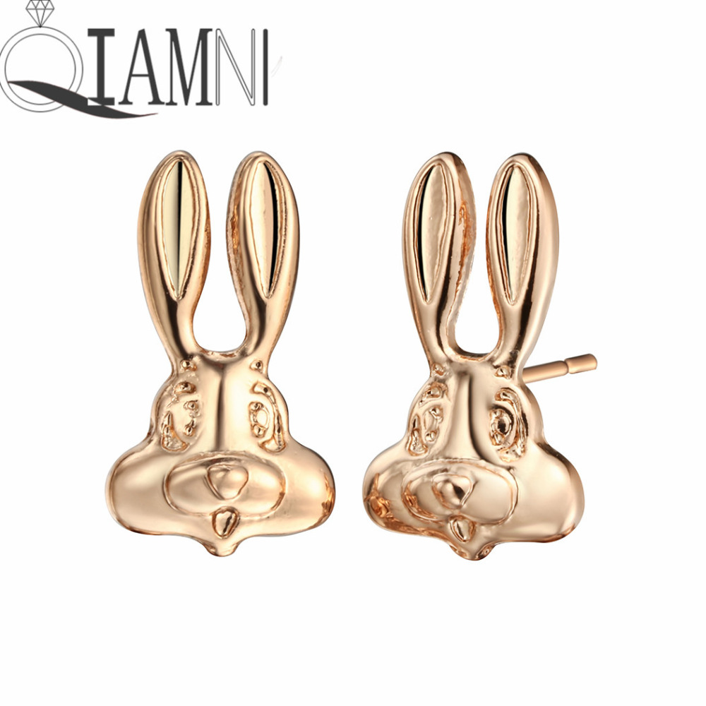 QIAMNI Lovely Rabbit Animal Hare Bunny Piercing Stud Earring Christmas Birthday Gift Girls Women Pendientes Dropshipping Charm