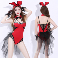 Fashion Ballroom Wear Women's Stage Costume Red Bunny Girl Tights Carnival Sexy DS DJ Nightclub Clothing Singer Dancer Clothes