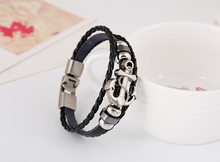 JKJ Alloy anchor braided cowhide bracelet cross border explosion European and American Buckle Leather Bracelet(China)
