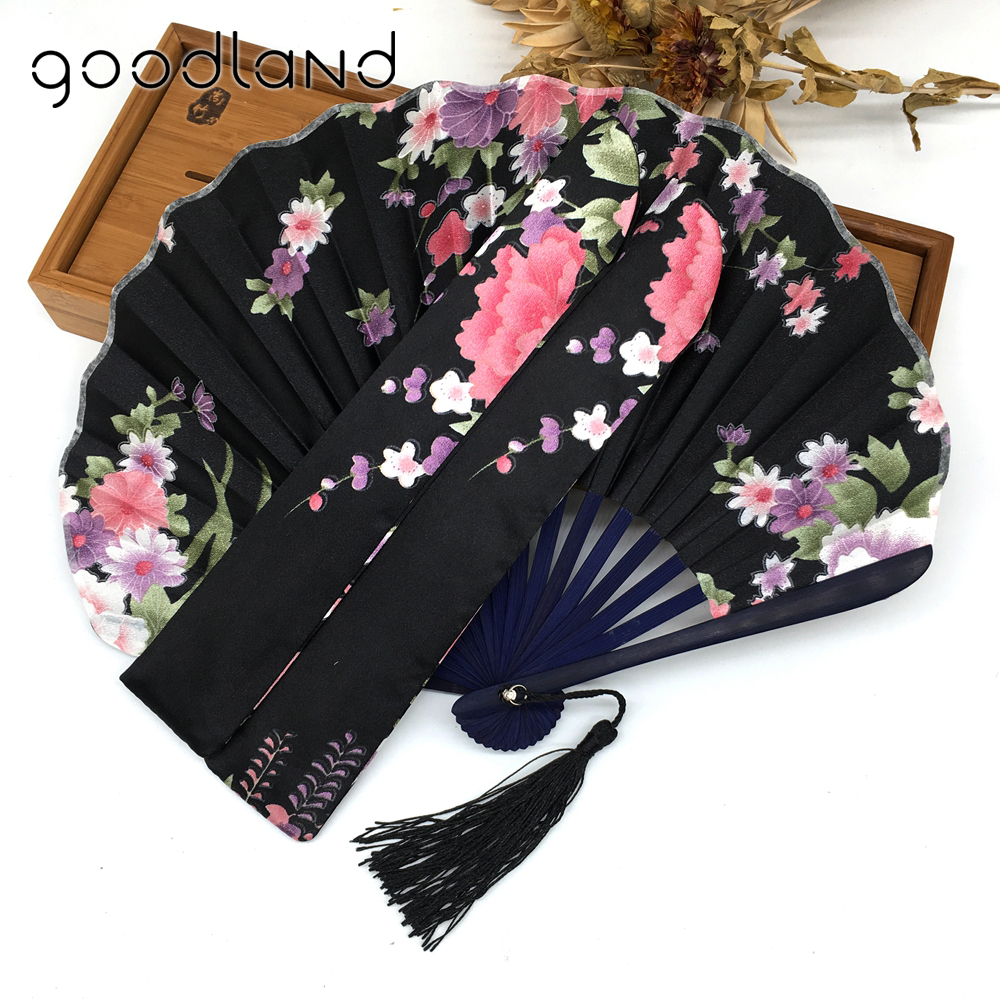 Gratis frakt 1 stk. Emballasje Cherry Blossom Flower Floral Fabric Round Folding Hånd Fan Event & Party Supplies Wedding Decor