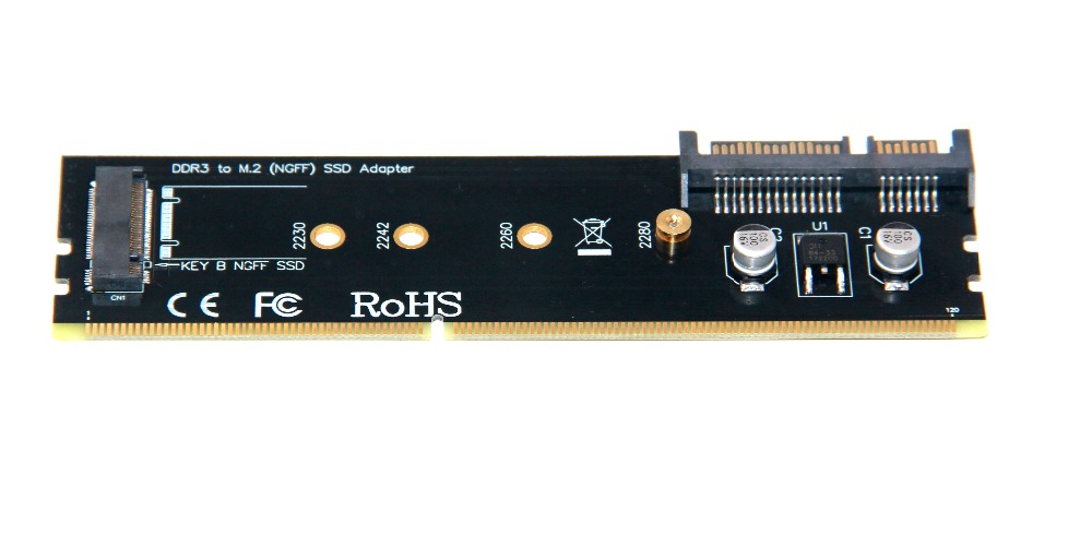 L DDR3 a M2 SSD adaptador M.2 NGFF B clave Riser Card SATA 15Pin poder + SATA 7Pin puerto de datos apoyo a 2242 de 2260 de 2280 M.2 SSD