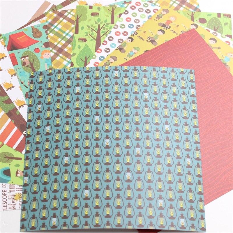 "KSCRAFT 12pcs 6"" Single-side Printed Let's Go Camping pattern creative papercraft art paper handmade scrapbooking kit set book 2"