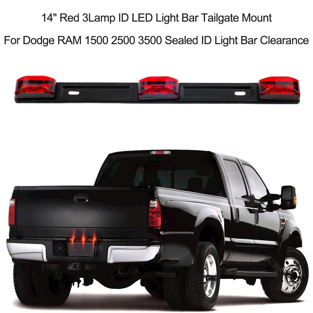 14 red 3lamp id led light bar tailgate mount for dodge ram 1500 14 red 3lamp id led light bar tailgate mount for dodge ram 1500 2500 3500 sealed id light bar clearance in signal lamp from automobiles motorcycles on aloadofball