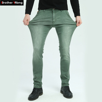Brother Wang Brand 2017 New Men S Elastic Jeans Fashion Slim Skinny Jeans Casual Pants Trousers