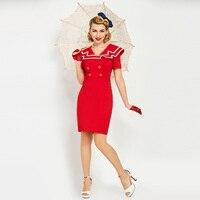 Women Dress Summer 2017 Retro Red Knee Length Sailor Collar 1950s Vintage Dress Sexy A Line