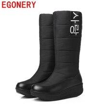 EGONERY chaussures 2017 hiver nouveau venu dame neige bottes femmes hiver mode chaud chaussures femme genou haute bottes de fourrure plus la taille 44 CN