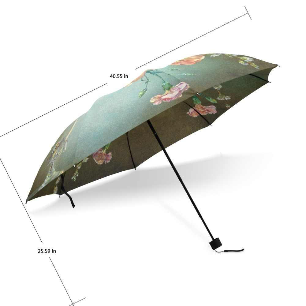 cd60ef914d21 Classical 19th Century Watercolor Painting Umbrella 3 Folding Flower  Painting Pattern Women Umbrella Automatic for Lover Gift