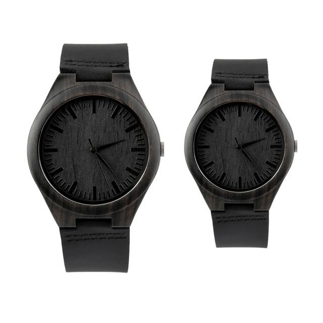 Reloj de madera de Ébano de madera de época Clásica dial venda de reloj de cuarzo relojes Hombres Mujeres Reloj de pulsera Pareja