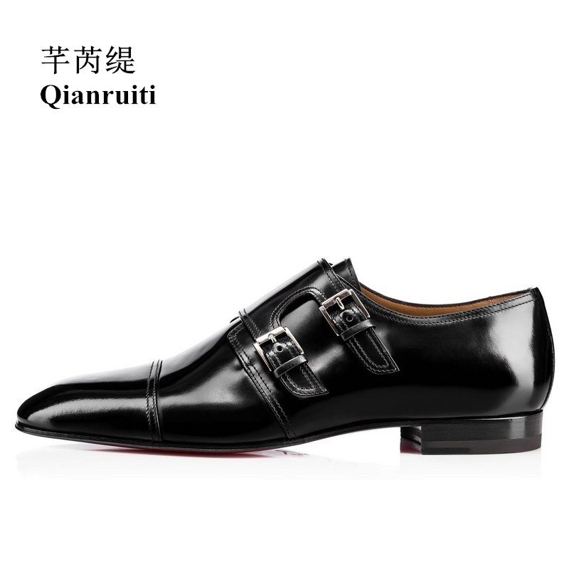 Qianruiti Men Patent Leather Shoes Buckle Oxfords Business Wedding Flat High Quality Men Dress Shoes EU39-EU46 Customized color qianruiti men slip on loafers metal toe lion head business wedding oxfords silver chain high quality men dress shoe eu39 eu46