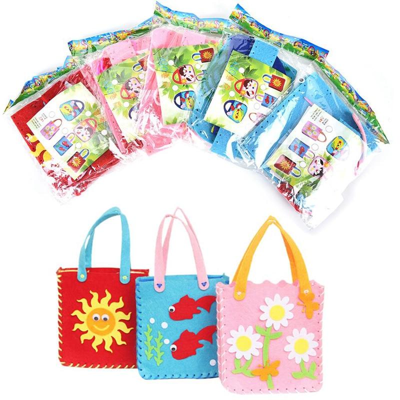 DIY Cloth Bag Handmade Montessori Materials Educational Toys For DIY Craft Art Cartoon Animal Flower Non-woven Applique Girl Bag