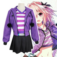 Fate Apocrypha Astolfo Cosplay Costume Cartoon Anime Purple Jacket Sportswear Set