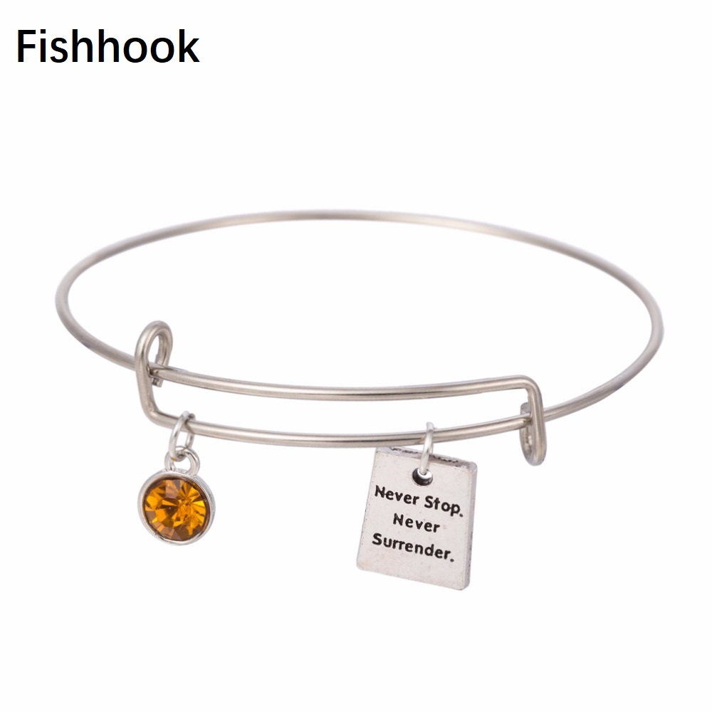 wire with message stop in surrender never jewelry orange inspirational from crystal gift adjustable bracelet inspired charm item fishhook bangles bangle