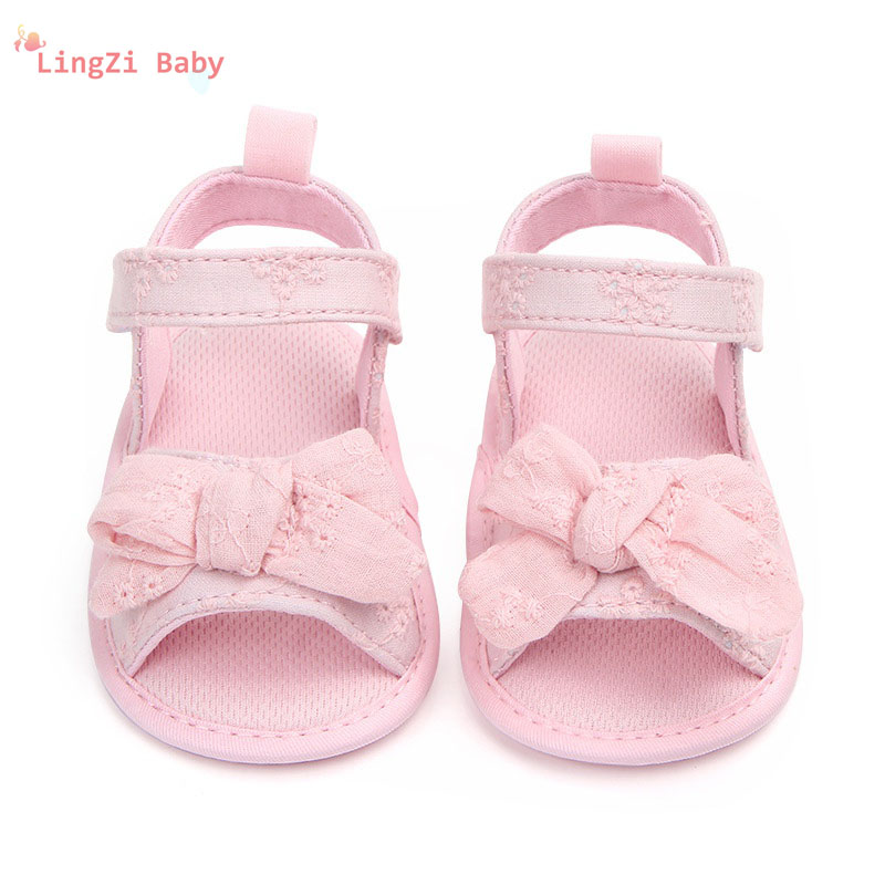 2018 New Sandals for Girls Cotton Baby Shoes Fashion Newborn Bow Baby Girl Shoes Cotton Princess Sandals Baby Girl Shoes flower baby summer baby shoes for girls soft sole cute princess elegant fashion cotton high quality baby shoes for girls 60a1071