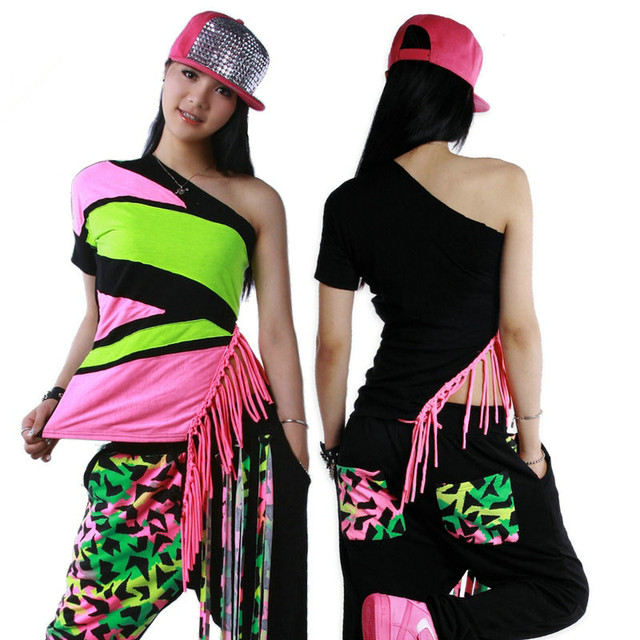 New Fashion Brand hip hop top dance female Jazz ds costume performance wear patchwork Tassel  Sexy oblique neon tassel t-shirt