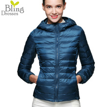 Plus Size 3XL 90 % White Duck Down Jacket Snow Winter Women Ultra Light Jackets Zipper Coat 2016 Fashion Hooded Slim Short Parka