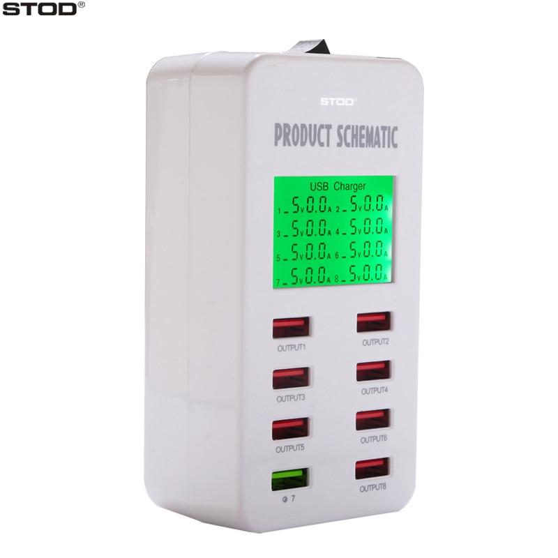 STOD Multi Port Charger USB Cerdas 35W Pengisian Cepat 3.0 LCD - Aksesori dan suku cadang ponsel