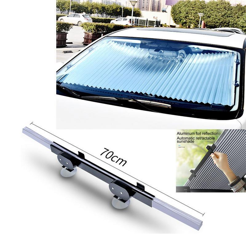 Car Sunshade Sunscreen Insulation Car Windshield Sun Visor Sunshade Automatic Retractable Shading Front Curtain