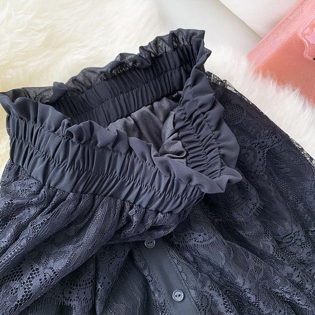 Dentelle Mini été Shorts jupe femmes noir blanc dames élégant taille haute a-ligne plissé soleil école jupe courte filles femme