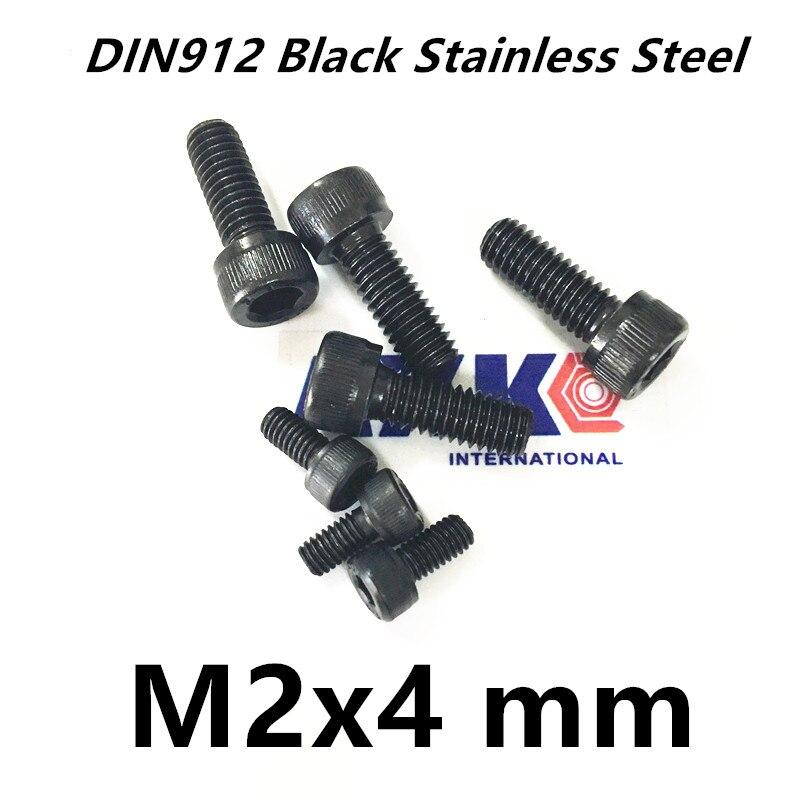 Free Shipping 100pcs/Lot Metric Thread DIN912 M2x4 mm M2*4 mm Black Grade 12.9 Alloy Steel Hex Socket Head Cap Screw Bolts