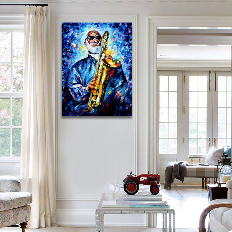 100 Handpainted Palette Knife Painting Jazz Music Musician Clown Play Instrument Canvas Wall Art For Home Office Decor