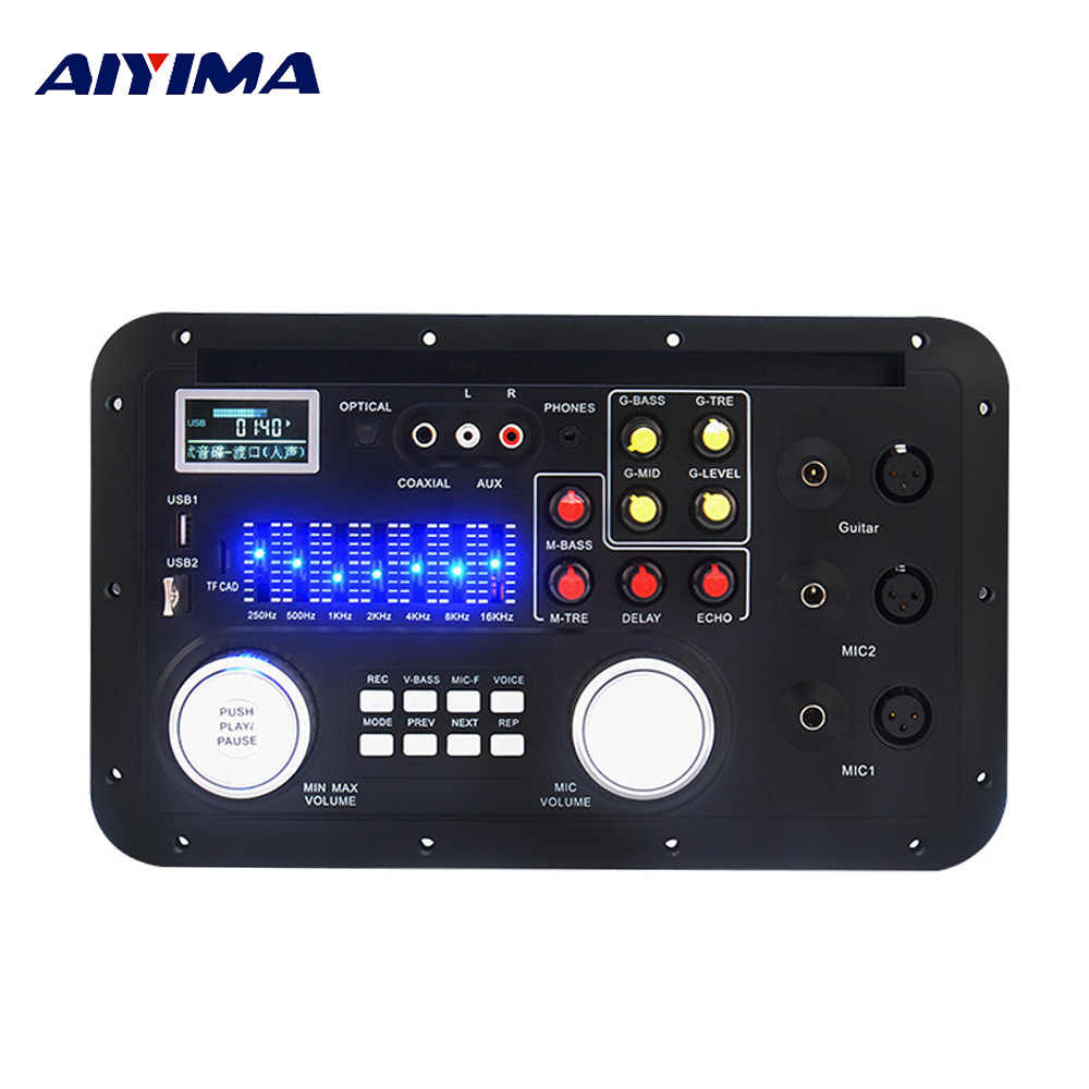 Aiyima DSP Bluetooth MP3 Decoder Papan Karaoke Preamp Mixer EQ Lossless Fiber Coaxial Equalizer untuk Penguat Audio Home Theater