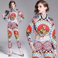 Europe and the United States the new spot scene shooting summer lapel long sleeve shirt nine minutes of pants silk suit