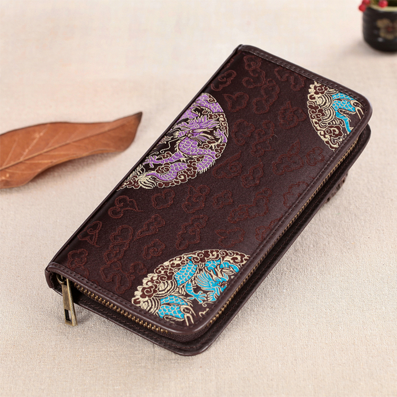 New Arrival Chinese Lucky Pattern Embroidery Brown 100 Real Silk Brocaded Men s Useful Long Purse