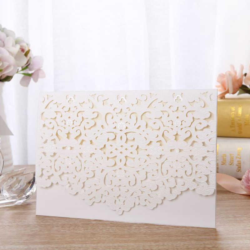 1pcs White Laser Cut Luxury Flora Wedding Invitations Card Elegant Lace Customize With Envelopes Wedding Party Favor Decoration