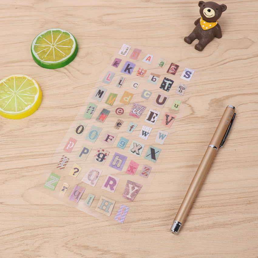 6pcs/lot Cute English Alphanumeric Gilding PVC Stickers DIY Scrapbooking Paper For Planner Diary Decoration Stationery